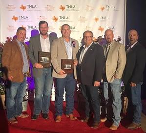 Pictured Left to Right: Brett Nichols, Matt Stults, Richie Bartek, Ivan Giraldo, Greg Fox, Jorge Espinosa accepting an award for Texas Excellence in Landscaping