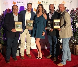 Pictured Left to Right: Ivan Giraldo, Alex Lee, Kaleigh Meighen, Jorge Espinosa, Greg Fox accepting an award for Texas Excellence in Landscaping